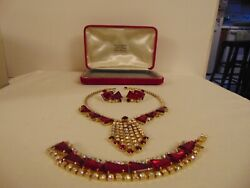Rare Red Juliana Delizza And Elster Necklace Bracelet Earrings In Original Case