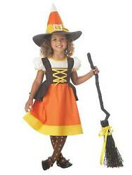 Toddler Girls Sweet Treat Candy Corn Witch Halloween Costume Dress 3T-4T $34.99