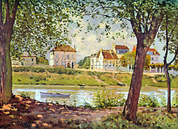Alfred Sisley Village On The Banks Of The Seine Artist Painting Reproduction Oil