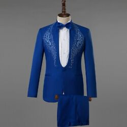 Menand039s Sequined Suit 2pcs One Button Costume Slim Fit Plain Dress Formal Casual