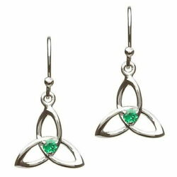 Sterling Silver Green Cubic Zirconia Trinity Earring 15 x 16mm Celtic Design