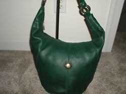 Women's Designer Green Bucket Bag Purse with Gold Hardward Trim