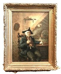 Antique Vintage August Muller (German 1836-1885) Gentleman WPipe Painting Old