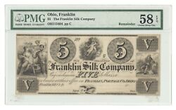 Oh112404 Remainder 1830s 5 Franklin Silk Company Oh Obsolete Note, Pmg 58 Epq