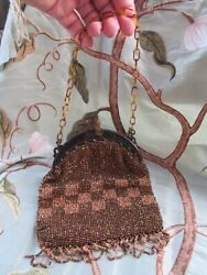 Art Deco Brown/bronze Glass Bead Bag Chequer Faux Tortoiseshell Frame And Handle