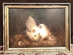 Antique Vintage Howard Hill American B. 1870 Hen Andchicks Oil/canvas Painting
