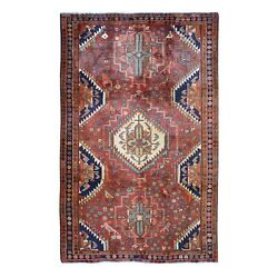 5'4x10'2 Red North West With Birds Hand Knotted Fine Oriental Rug G47105