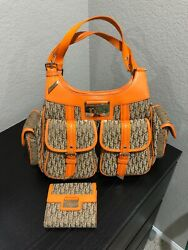 Authentic Christian Dior Trotter Hand Bag Canvas Leather Orange With Wallet. $799.99