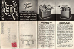 Boice Crane 1952 Power Tool Catalog Mailer Drill Presses Jointers Planers Lathes