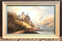 Antique Vintage 19c Continental Painting Oil/canvasrheinstein Castle, Germany
