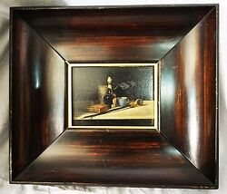 Fine Still Life Russian Painting Of Wine Small 12and039and039 X 14and039and039 Framed Beautiful