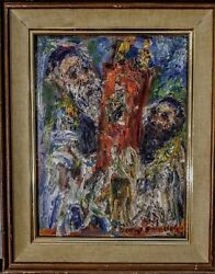 Vintage Oil Portrait Of Two Rabbis Carrying The Torah By David Pallock
