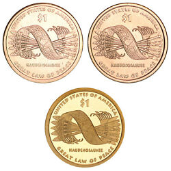 2010 P D S Native American Sacagawea Dollar Year Set Proof And Bu Us 3 Coin Lot