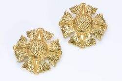 1980andrsquos Gold Plated Camellia Maltese Cross Theme Earrings