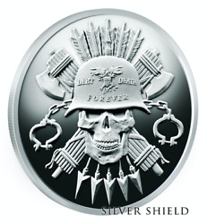 2019 5 Oz Moto D+d Proof Ag Round Silver Shield Group 777 For .999 Debt Death