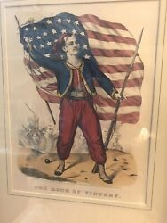 Currier And Ives, Civi War Lithograph, The Hour Of Victory, 1861