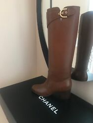Brown Calfskin Leather Polo Riding Buckle High With Buckle Boots New