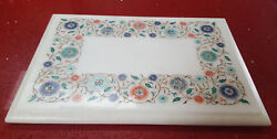 18 X 12 Side Table Top Marble Floral Semi Precious Stones Fine Inlay Work