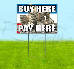Buy Here Pay Here 18x24 Yard Sign With Stake Corrugated Bandit Usa Dealership
