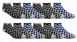 Checker Checkerboard Design Thin Lightweight Low Cut Ankle Socks (Pack of 12) $10.95