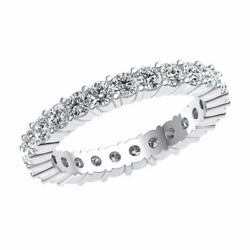 18k Gold Classic Shared Prong Eternity Wedding Band Ring 1.70ct Natural Diamond