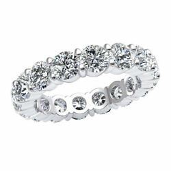 Natural 4.8ct Classic Prong Eternity Band Ring Round Cut Diamond Solid 14k Gold
