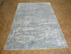 8'11 X 12'3 Hand Knotted Fine Modern Abstract Oriental Rug With Silk G8322