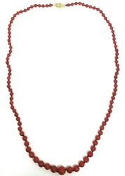 Victorian Ox Blood Coral Bead Necklace 14k Yellow Gold Clasp
