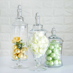 3 Pcs 9 13 14 Tall Clear Glass Apothecary Jars Containers With Lids Wholesale