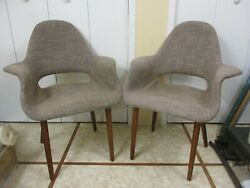 Vintage Mid Century Eames Era Style Lounge Chairs And Danish Modern Wood Legs