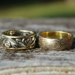 Pair Of Idar Rings, 18k Yg And White Gold. 'beehive' And 'tree Of Life' Size 5.5 And 6