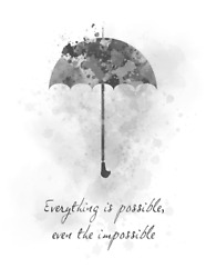 Art Print Mary Poppins Quote Everything Is Possible Umbrella Nursery Gift, B And W