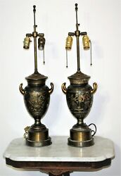 2 Antique Etched Neoclassical Roman Soldiers Bronze Gilt Sterling Urn Lamps