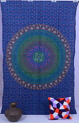 Indian Mandala Twin Wall Hanging Boho Decor Blue Bedspread Bohemian Tapestry
