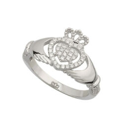 Sterling Silver Cubic Zirconia Claddagh Ring Heart Crown Women Irish Blessing