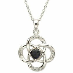 Sterling Silver Necklace September Birthstone Sapphire Cubic Zirconia 18 x 20mm