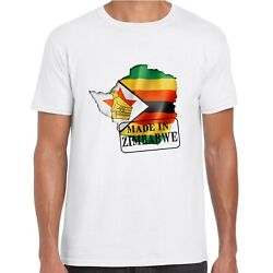 Mens Made In Zimbabwe T Shirt - Flag And Map Country Gift Tee