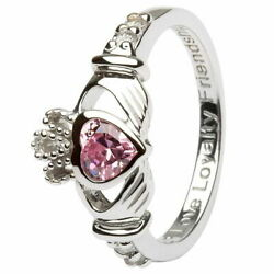 Women Claddagh October Birthstone Ring Pink Cubic Zirconia Irish Heart Charm