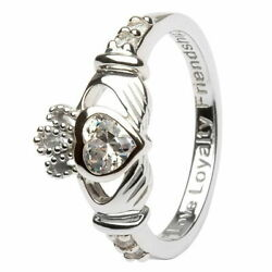 Women Claddagh Sterling Silver April Birthstone Ring Cubic Zirconia Irish Charm