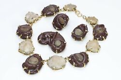 Mariquita Masterson Gilded Silver River Stone Necklace Earrings Brooch Set