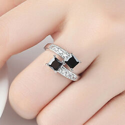 Women Double Square Crystal Open Ring Finger Rings Adjustable Opening Rings LD
