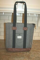 HEX Padded Laptop Bag Tote Purse Pin Stripe Black and White