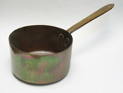 Antique Copper Hand Forged Long Handle Cooking Pot Saucepan 8.5 Dia / 5.75lbs