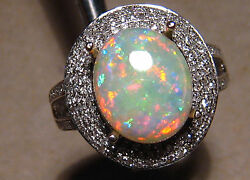 Fit For A Queen 2.57 Ct Red Gem Opal .95 Ct Diamond Ring 14 K White Gold