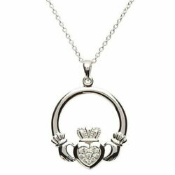 Sterling Silver Claddagh Stone Necklace Cubic Zirconia 18