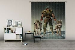 3d Mountain Viking Wolf O056 Photo Curtain Printing Fabric Window Vincent Amy
