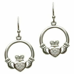 Sterling Silver PaveSet Claddagh Earrings White Cubic Zirconia Excellent Gift
