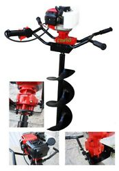 2hp Two Man Post Hole Digger Earth Planting 52cc Gas With 6 And 12 Auger Bits