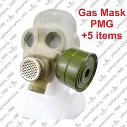 Vintage Soviet Russian Ussr Military Pmg Gas Mask With Original Bag Size 1, 2, 3