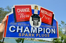 """Old Style Installed Free"""" Champion Spark Plug Diecut Flange Steel Sign Usa Made"""